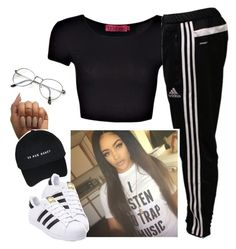 """✨"" by saucinonyou999 ❤ liked on Polyvore featuring adidas"