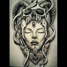 Medusa Tattoo Design, Tattoo Design Drawings, Tattoo Sketches, Tattoo Designs, Evil Tattoos, Leg Tattoos, Body Art Tattoos, Aztec Tattoos Sleeve, Chicano Tattoos Sleeve