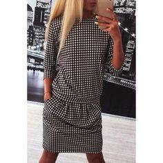 $12.20 Chic Round Collar 3/4 Sleeve Houndstooth Women's Dress
