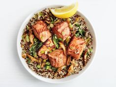 Teriyaki Salmon Quinoa Bowls recipe from Food Network Kitchen via Food Network