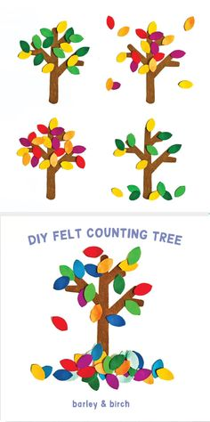 Tips For Just A Second Wedding Ceremony Anniversary Reward A Quick And Colorful Diy Felt Tree That Can Help Teach Toddlers Seasons, Counting Sorting, Colors And More Via Barley and Birch Autumn Crafts, Fall Crafts For Kids, Toddler Crafts, Diy For Kids, Toddler Play, Toddler Learning, Nature Crafts, 4 Kids, Children