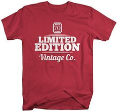 Shirts By Sarah Men's 70th Birthday T-Shirt Limited Edition Personalized Vintage Shirts