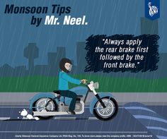 Mr. Neel applies the rear brake followed by the front brake for more grip on the road.