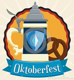 Illustration about Traditional stein and delicious pretzel for Oktoberfest celebration decorated with a ribbon in flat style. Illustration of munich, flat, drink - 77583879 Fashion Flats, Pretzel, Illustrations Posters, Celebration, October, Traditional, Holiday, Fun, Decor