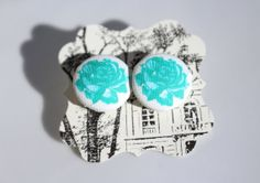 Teal Rose Button Earrings