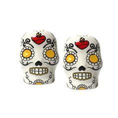 Sugar skull Salt & Pepper shakers...aaawww.... <3