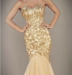 mermade gold dress | ... Gold Mermaid Prom Dresses Ball Gown Evening Bridesmaid dresses Custom