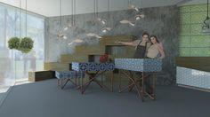 Rafia, floristería café by Anna Cubillo, via Behance Anna, Dining Table, Behance, Furniture, Home Decor, Cubes, Concept, Colors, Decoration Home