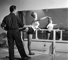 Marilyn Monroe at the ballet barre. Not bad.           from latinamericana (via allaboutmarilynmonroe)