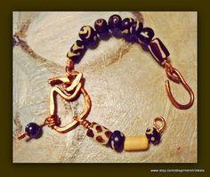 Copper Pendant African Bead Bracelet for Women by MereTrinkets, $25.00