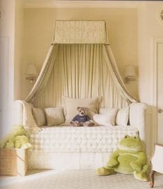 Charlotte Moss Designer photo from Suzanna Salk's Room for Children book: Green and White girl's bedroom.