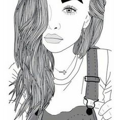 outline, girl, and drawing image Disney Stich, Girl Outlines, Tumblr Outline, Girls Heart, Videos Kawaii, Sketch Style, Inspiration Drawing, Dibujos Tumblr A Color, Tumblr Drawings