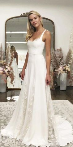 27 Awesome Simple Wedding Dresses For Cute Brides - Getting married - . 27 Awesome Simple Wedding Dresses For Cute Brides - Getting married - Vera Mont Blumenkleid Vera MontVera Mon. Western Wedding Dresses, Long Wedding Dresses, Bridal Dresses, Maxi Dresses, Modest Wedding, White Simple Wedding Dress, Party Dresses, Event Dresses, Romantic Wedding Gowns