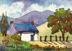 ACEO Original watercolour Hillside Cottage by Pamelajonesartstudio