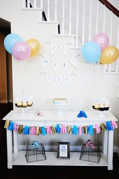 Gender reveal baby shower!  See more party ideas at CatchMyParty.com!