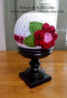 Flower Hat - The Bella Cloche - Crochet Pattern 43 - Newborn to Adult Sizes Included - Flower Stripe Hat - INSTANT DOWNLOAD