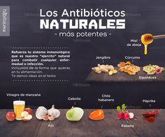 """10 POTENTES ANTIBIÓTICOS NATURALES… nada como lo natural que tiene miles de beneficios y de donde SEGURAMENTE salieron algunos de los sintéticos! Refuerza tu sistema inmunológico que es nuestro """"ejercito"""" natural para combatir cualquier enfermedad o infección. Inclúyelos de la forma que quieras en tu alimentación Emoticón smile - Vinagre de manzana miel, cebolla, rabano, ajo, jengibre"""