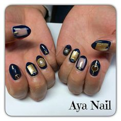 Blue negative space nails