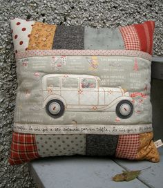 PatchworkPottery: Classic Car Pillow