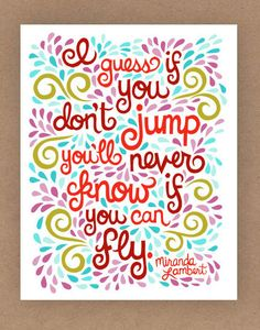 11x14-in Miranda Lambert Quote Illustration Print. $35.00, via Etsy.