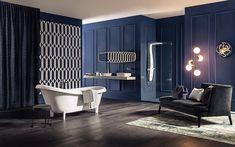 Bathroom: Stunning Luxury Bathroom Ideas With Contemporary Vinyl Bathroom Flooring And Modern Wall Hung Toilet Along With White Bathroom Vanity Plus Elegant Wall Murals from 4 Tips to Set Bathroom Flooring