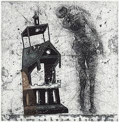 mixed etching for an Ex Libris, by Vladimir Zuev, ca. 2006