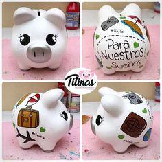 Resultado de imagen para cerditos decorados Little Monkeys, Little Pigs, Baby Crafts, Diy And Crafts, Personalized Piggy Bank, Bf Gifts, Paper Crafts Origami, Ideas Para Fiestas, Pretty And Cute
