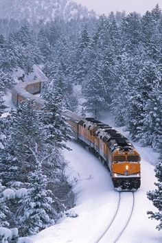 I love trains in the winter. When I was a young child in 1950 trains were lo… I love trains in the winter. When I was a young child in 1950 trains were longer. I know this for a fact. I used to count the cars attached to the two big . Train Tracks, Train Rides, Beautiful World, Beautiful Places, Beautiful Gif, Beautiful Scenery, Bonde, Winter Magic, Winter Snow