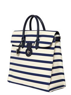 RALPH LAUREN - RICKIE STRIPED CANVAS AND LEATHER TOTE