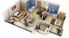 2 Bedroom House Plans With 2 Master Suites 3d House Plans, 2 Bedroom House Plans, House Layout Plans, Small House Plans, House Layouts, Two Bedroom Apartments, 2 Bedroom Apartment, Apartment Interior Design, Hotel Apartment