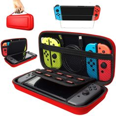 Pokanic - Carrying Case Compatible with Nintendo Switch, Screen Protector Glass Film, Hard Shell Portable Travel Pouch with 8 Game Card Holders (Red) Nintendo Switch Splatoon, Nintendo 3ds, Nintendo Switch Case, Lego Custom Minifigures, Nintendo Switch Accessories, Glass Film, Game Controller, Cool Gadgets, Screen Protector