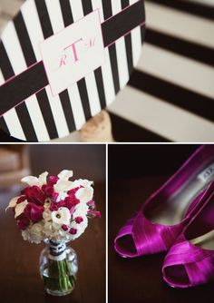 What a beautiful magenta-and-white bouquet of roses, hydrangeas, calla lilies and spray roses!