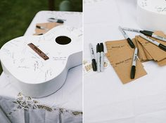 A old guitar is reinvented as a guestbook that can be displayed in the couple's home long after the happy day.