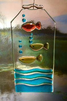 Fish  fused glass suncatcher by CeramicArts on Etsy