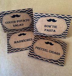 12 Mustache Bash Food Label Tent Cards or by SweetJellyParties, $10.00