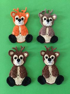 Get this free crochet pattern for this cute crochet deer at Kerri's Crochet, along with many other crochet animal patterns. Crochet Applique Patterns Free, Crochet Animal Patterns, Stuffed Animal Patterns, Crochet Motif, Crochet Hooks, Crochet Appliques, Crochet Animals, Felt Patterns, Crochet Deer
