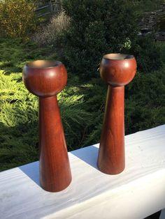VINTAGE Danish TEAK WOOD Designer Candlesticks Mid Century Modern MCM ESA    eBay