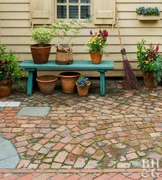 Broken bricks are perfect for making a charming crazy-quilt pavement.