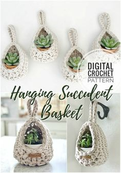 Super cute and quick hanging basket crochet pattern, perfect for succulents or air plants! I love these in this natural thick cotton t-shirt yarn! Quick Crochet, Crochet Home, Knit Or Crochet, Crochet Crafts, Crochet Projects, Easy Yarn Crafts, Yarn Projects, Crochet Basket Pattern, Crochet Poncho Patterns