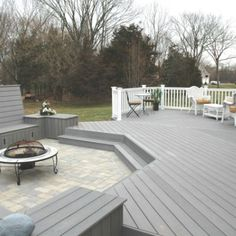 Multi-level deck patio in Middletown CT with Fiberon composite in gray | Archadeck Outdoor Living of Central Connecticut