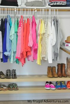 Closet Organization tips and shoe storage ideas. Ikea floating shelves as shoe storage at the bottom of your closet.