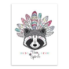 Raccoon Headdress Canvas Art Print I'm in LOVE with this funky, whimsical, boho & modern art print, and am sure it'll be equally loved by anyone that puts their eyes on it! Super unique and adorable i