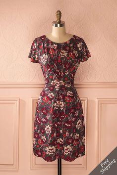 Robe d'automne à imprimé de fleurs rouge - Red flower print fall dress