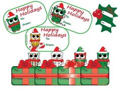 Updated!!! Now with 8 different sets! Each cute design comes in BLACK and WHITE!!!  Choose between JPEG and PNG!!!  Get before the holidays are over!!!  Use with white cardstock, label paper, or just copy paper and PRINT!  These are cute, adorable, brightly colored Owl Christmas Gift Tags/Toppers for all of my owl-lovers out there, including myself!