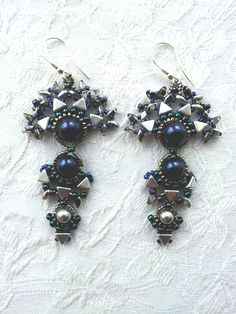 Midnight blue pearl dangle earrings, Beaded blue pearl silver triangle earrings using Swarovski crystal pearls, Tribal Statement earrings by OdesiaMayJewellery on Etsy