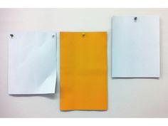 "SYLVAN LIONNI / ""Letter, Legal, Letter"", 17"" x 28"", Urethane on Aluminum with spray painted aluminum pushpins, 2012"