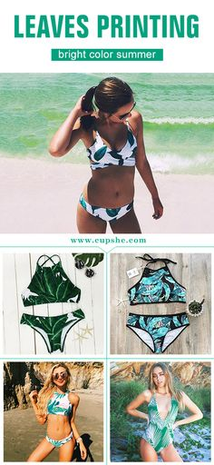 Full of season vibe all year round, girls. Get it with short shipping time! You are going to be a perfect vision in bright color Leaves Swimsuit. You will be ready for almost any summer activity. Get it immediately at Cupshe.com !