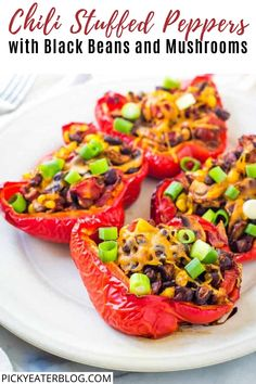 These chili stuffed peppers are packed with fire-roasted tomatoes, black beans, mushrooms, jalapeño peppers, and the perfect amount of cheese in every bite. They're a healthy, satisfying, totally delicious and easy weeknight meal!
