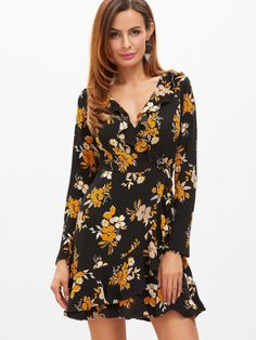 33ed5543b67 SheIn offers Black Flower Print Surplice Front Ruffle Trim Wrap Dress    more to fit your fashionable needs.