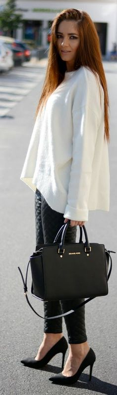 white oversized sweater, quilted leggings, Michael Kors bag
